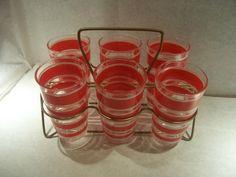 Hazel Atlas Red Stripe Glasses Circa 1950s