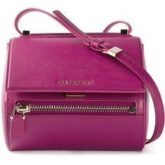 Givenchy Mini Pandora Box Shoulder Bag (£1,185) ❤ liked on Polyvore featuring bags, handbags, shoulder bags, givenchy, pandora, totes, givenchy purse, mini shoulder bag, purple handbags and mini purse