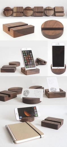 Black Walnut Wooden Desktop iPhone iPad SmartPhone Holder Stand Mount for iPhone iPad and Other Cell Phone