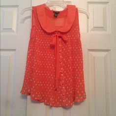 Sheer chiffon polka dot tank Coral pleated tank, button up, tie around the neck, sheer, only worn a few times Rue 21 Tops Blouses