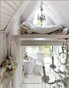 Cozy sleeping loft in vintage cottage style house.  Recycle, upcycle, repurpose, salvage!  For ideas and goods shop at Estate ReSale & ReDesign, Bonita Springs, FL
