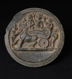 Asia Week New York 2015 Compact Dish Depicting Victory Scene  Ancient Region of Gandhara 1st-2nd century Grey Schsit 11 cm.