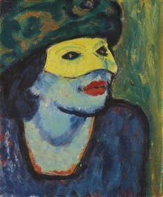 Max Pechstein (1881-1955) - Die Gelbe Maske I (The Yellow Mask I), 1910. Oil on canvas (46.5 x 38 cm)