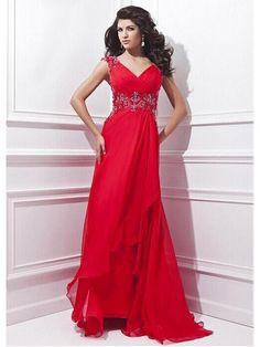 Alluring Chiffon V-neck Neckline Floor-length A-line Evening Dress