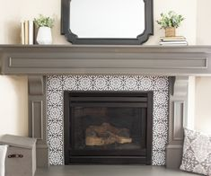 Fireplace Makeover with the Super Finish Max Paint Sprayer Stain Projects, Outdoor Chairs, Stick On Tiles, Next Furniture, Fireplace Decor, Fireplace Makeover, Tile Projects, Fireplace, Paint Sprayer