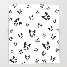 Boston Terrier Nursery Blanket, Black White Kids Room Decor, Dog Print Fabric, Baby Blanket, Monochrome Kids Blankets, Kids Soft Blanket by MONOFACESoCHILDREN on Etsy