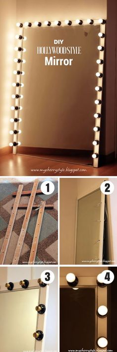 50 Fab DIY Mirror Frames You Can Easily Make Yourself - Check out how to make this DIY Hollywood style mirror with lights Hollywood Style Mirror, Hollywood Lights, Hollywood Vanity, Diy Room Decor, Bedroom Decor, Home Decor, Bedroom Ideas, Decor Crafts, Diy Crafts