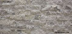 Zara Silver splitface travertine veneer is an innovative approach to natural stone wall cladding. Silver Travertine Fireplace Veneer, #Fireplace #Veneer