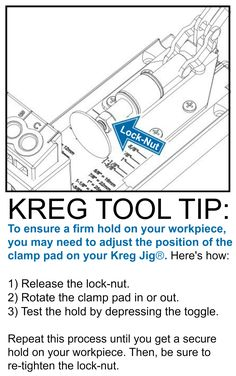 Woodworking How To Kreg Tool Tip: How to adjust your Kreg Jig® Clamp Pad to get a firm hold on… - Woodworking School, Learn Woodworking, Popular Woodworking, Woodworking Crafts, Kreg Joint, Drill Jig, Kreg Jig Projects, Kreg Pocket Hole Jig, Kreg Tools