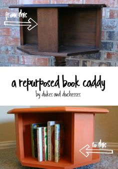 a vintage table repurposed into a moveable book caddy for kids