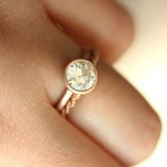 6.5mm Forever Brilliant Moissanite 14K Rose Gold by louisagallery