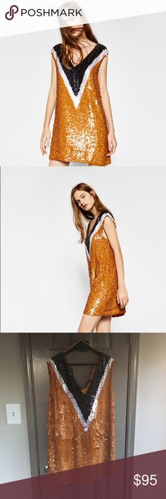 Zara sold out --- sequined dress Beautiful orange color Zara Dresses Mini