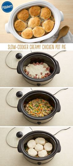 Want to make creamy Chicken Pot Pie without the hassle? This biscuit-topped beauty delivers on that and more! Easily combine your favorite pot pie ingredients for a comforting dinner when you get home(Slow Cooker Recipes For Kids) Crock Pot Food, Crockpot Dishes, Crock Pot Slow Cooker, Slow Cooker Recipes, Cooking Recipes, Chicken Pot Pie Recipe Crockpot, Fast Recipes, Chicken Pot Pie Casserole, Pie Recipes