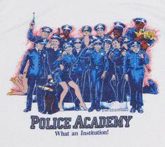 Vtg-1984-POLICE-ACADEMY-Sleeveless-T-Shirt-MEDIUM-White-50-50-Movie-Soft-Thin