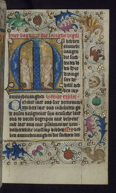 Illuminated Manuscript, Book of Hours in Dutch, Initial M with two souls praying in purgatory, Walters Manuscript W.918, fol. 150r