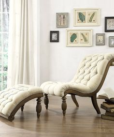 Beige Linen Button Curved Chaise Lounge  Ottoman--Lauren's library