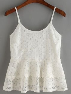 To find out about the White Spaghetti Strap Lace Ruffle Cami Top at SHEIN, part of our latest Tank Tops & Camis ready to shop online today! Pretty Outfits, Cool Outfits, Casual Outfits, Cami Tops, Peplum Tops, Modelos Fashion, Girl Fashion, Fashion Outfits, Lace Ruffle