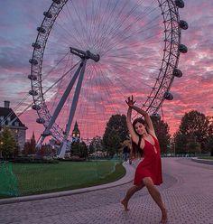 London eye, London. Me ballet dancer in a sunset