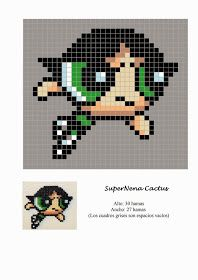 Free Hama Beads Pattern by Soniation - Anime Perler Beads, Perler Bead Mario, Fuse Beads, Pearler Bead Patterns, Perler Patterns, Powerpuff Girls, Beaded Cross Stitch, Cross Stitch Patterns, Hamma Beads Ideas