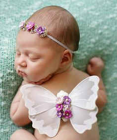 Another great find on #zulily! White & Purple Ombré Headband & Wings #zulilyfinds
