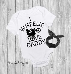 I Wheelie Love Daddy - Funny Baby Outfit for Motorcycle Riders, Dirt Bike Lover, Motorhead, Gear Head, by vrienden      Clothing Unisex Kids' Clothing Bodysuits Rice Rocket Sport Bike Lover Harley Motorbike Biker Dad First Fathers Day 1st dads day pregnancy reveal you are my father sons first hero daughters first love future riding buddy Funny Baby Onesie