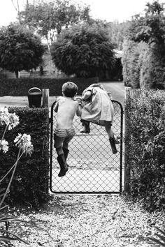 Black and White Photography - Vintage - Children Climbing over fence Black White Photos, Black And White Photography, Old Photos, Vintage Photos, Little People, Belle Photo, Cute Kids, Portraits, In This Moment