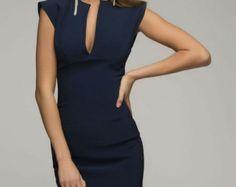Donker blauw Jersey potlood jurk korte mouw Casual kleding