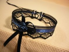 Victorian Maid Choker Black and Navy Blue Lace Neck by estylissimo
