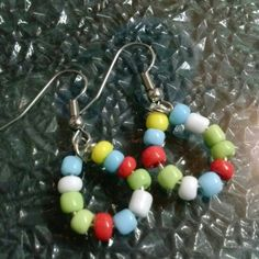 Earrings Vintage Glass Beads Earrings  Vintage Glass Beads  Multi Color  Upcycled & re Pinned  Surgical Steel Hooks Beautiful Almost new EECrates  Jewelry Earrings