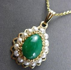 ANTIQUE LARGE 14KT YELLOW GOLD AAA JADE & SOUTH SEA PEARL DROP PENDANT #23633
