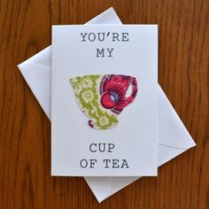 'You're My Cup Of Tea' stitched fabric valentines anniversary greeting card £2.75