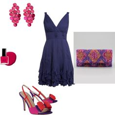 purple dress with fun accent colors