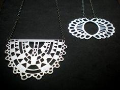 Hand pierced Silver Deco Necklace & Silver Lace Necklace