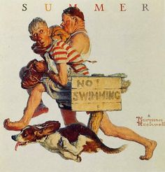 norman rockwell paintings | ... Men And Dog No Swimming - Norman Rockwell Paintings Wallpaper Image