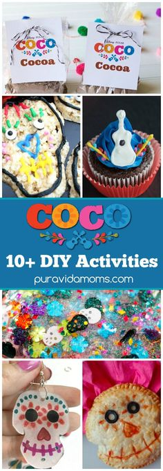 Disney Pixar's Coco movie celebrates family and Mexican culture! We've brought you a list of Coco movie inspired crafts and recipes you can create at home! Crafts For Teens, Fun Crafts, Diy And Crafts, Disney Activities, Activities For Kids, Spanish Activities, Activity Ideas, Winter Activities, Craft Ideas