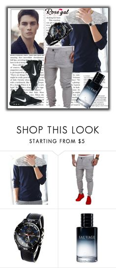 """Man shirt 51."" by nudzi-ded ❤ liked on Polyvore featuring Christian Dior, NIKE, men's fashion, menswear, shoes, watch, shirt and rosegal"