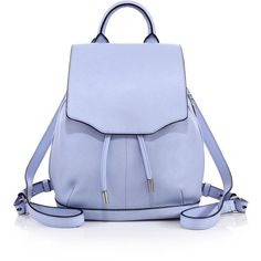 Rag & Bone Pilot Mini Leather Backpack ($595) ❤ liked on Polyvore featuring bags, backpacks, apparel & accessories, light blue, blue drawstring backpack, leather knapsack, leather rucksack, strap backpack and mini backpack