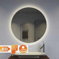 Trendy ronde LED spiegel met verwarming en dim functie Bathroom Lighting, Toilet, Mirror, Interior, Home Decor, Bath, Bathroom Light Fittings, Bathroom Vanity Lighting, Flush Toilet