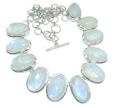 $265.95 AAA+quality+White+Fire+Moonstone+Sterling+Silver+handmade+necklace at www.SilverRushStyle.com #necklace #handmade #jewelry #silver #moonstone
