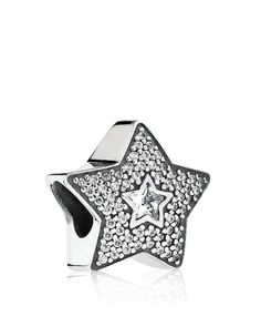 Pandora Charm - Sterling Silver & Cubic Zirconia Wishing Star, Moments Collection