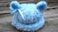 Newborn baby boy or girl Baby Blue knitted Bear by MyLittleKnits, $19.99