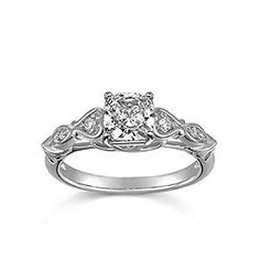 Engagement Ring with 0.07 CT. T.W. side diamonds, Cushion Shape