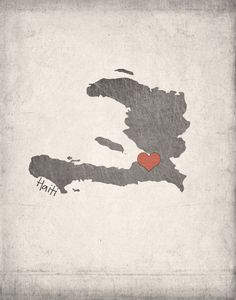 Haiti Map with Heart by IfNotUsWhoWillBe on Etsy, $24.00