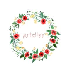 Watercolor wreath with flowers vector floral crown  by Jallom on VectorStock®