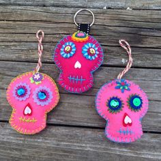 Pink Muertos Ornaments 3x5, stuffed with cotton, bright felt, no 2 alike.  $13 each Other