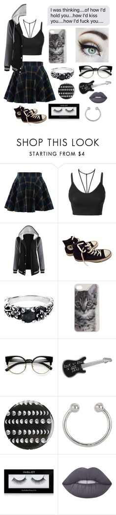 """His property"" by xxkrysxx ❤ liked on Polyvore featuring Chicwish, LE3NO, Converse, Hot Topic, ZeroUV, agnès b., Miss Selfridge, Inglot, Lime Crime and grunge"