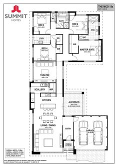 Here's another floor plan you might like. This is different with… Happy Friday! Here's another floor plan you might like. This is different with all the living on the very front and the bedrooms/laundry grouped together… 4 Bedroom House Plans, Family House Plans, Best House Plans, Dream House Plans, Small House Plans, Modern House Floor Plans, Home Design Floor Plans, Modern House Design, House Layout Plans