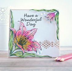 Handmade card created using Crafter's Companion's Sheena Douglass In Full Bloom Stamps and Dies. Lisa Lahiff for Sheena Douglass, Crafters Companion, Weekend Fun, Colored Pencils, Cardmaking, Greeting Cards, Bloom, Lily, Paper Crafts