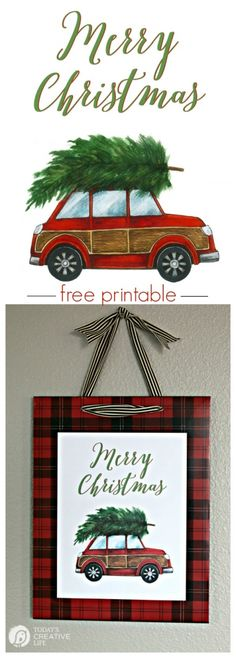 DIY Christmas Decorations | Quick, easy and inexpensive holiday decor with this free printable. Frame it for quick diy wall decor. This adorable red car with a Christmas tree will be your favorite for years to come. Grab yours on Today's Creative Life