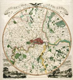 Map of Twelve Mile Area around London, c1798